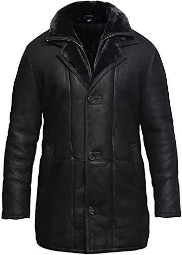 Brandslock Mens Real Shearling Sheepskin Leather Warm Duffle Trench Coat