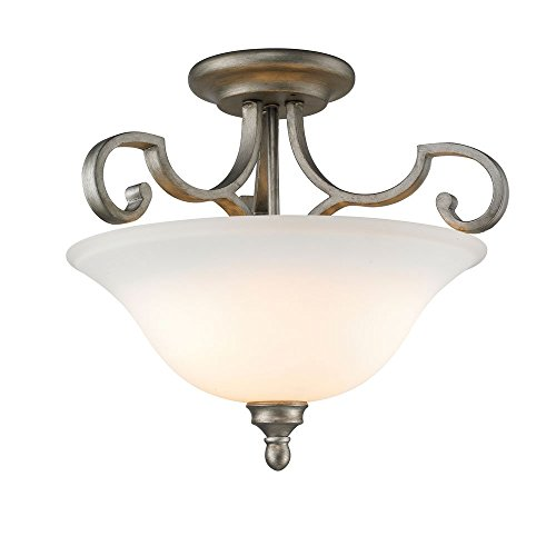 UPC 844375019423, Golden Lighting 3711-SF PS Semi-Flush/Ceiling with Opal Glass Shades, Peruvian Silver Finish