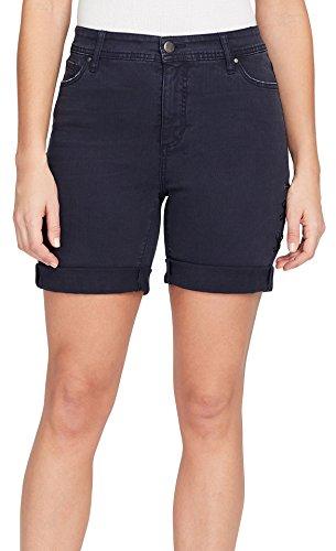 Bandolino Women's Mandie 5 Pocket Roll Cuff Denim Short, Majestic Blue Lace up Details, 10 ()
