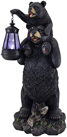 Zeckos Lifting Spirits Bear Cub on Shoulders Statue and Solar LED Lantern
