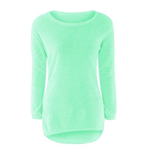 Vestido de invierno mujer sweather, RETUROM moda para mujer Casual sólido largo puente suéteres blusa manga Verde