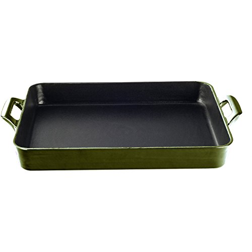 La Cuisine LC 8150 1 Piece Shallow Cast Iron Roasting Pan with Enamel Finish, Olive Green
