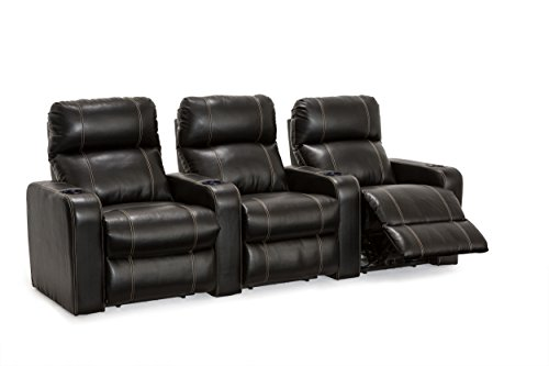 Lane Dynasty Black Bonded Leather Home Theater Seating Row of 3 (Large Image)