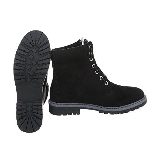 Ital-Design Schnürstiefeletten Damenschuhe Schnürstiefeletten Blockabsatz Schnürer Reißverschluss Stiefeletten Schwarz A-20