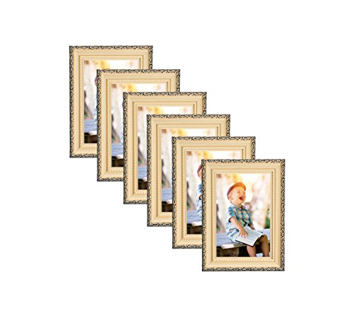 Unique Plated Beaded Border Gold Picture Frames (6 pc) Display with Photo Glass Front, Easel Back, Hanging Clip (Set of 6, 4x6)