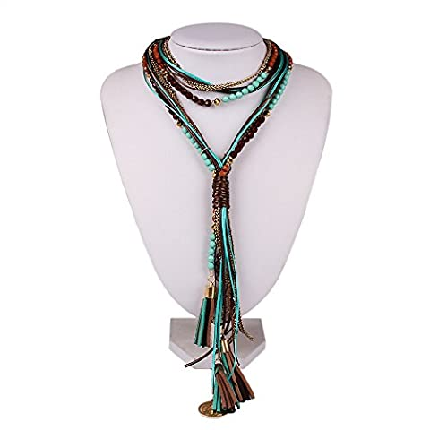SDLM Bohemian Acrylic Beads Y Bib Statement Strands Necklace Braided Rope Womens Jewelry,b - Roberto Coin Elephant Jewelry Set