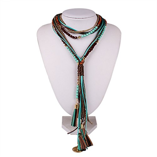 Girl Era Bohemian Long Tassel Bead Y Necklace Layered Vintage Costume Braided (Fashion History Costume Trends And Eras)
