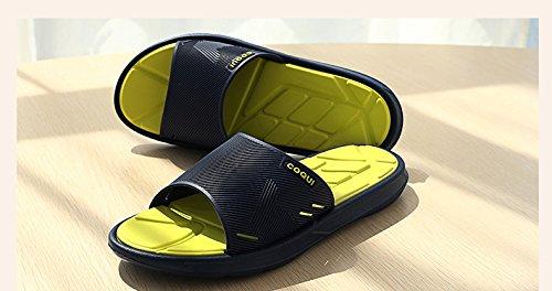 Slip On Slippers Non-slip Shower Sandals House Mule Mesh Uppers Pool Shoes Bathroom Slide, Mens Size yellow