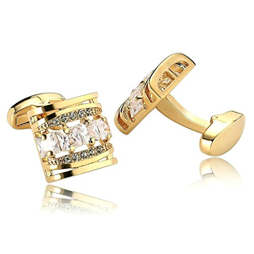 AnaZoz Jewelry Stainless Steel Mens 1 Pair Cufflinks Hollow Square Cubic Zirconia Gold Men's Cuff Links ()