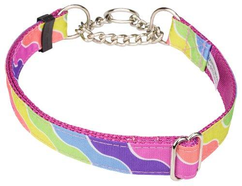 Country Brook Design Spring Kaleidoscope Grosgrain Ribbon Half Check Dog Collar - Large