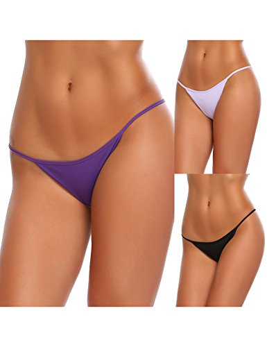 (Ekouaer Soft Breathable Brief Panties Thong Underwear For Women 3 Pack,Large,A(black/Light)