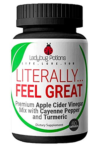 Premium Apple Cider Vinegar Pills - (60 Capsules) with Cayenne Pepper & Turmeric - Appetite Suppressant, Bloating Relief, Detox and Cleanse, Metabolism Booster Diet Pills for Women | Ladybug Potions