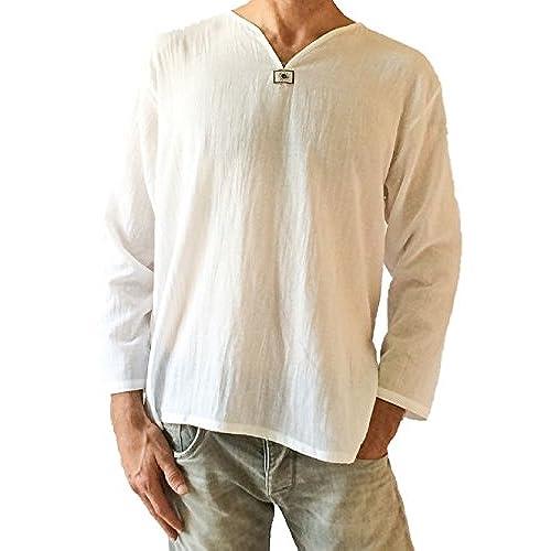 Mens Summer T-Shirt 100% Cotton Thai Hippie Shirt V-Neck Beach Yoga Top (Large, White)