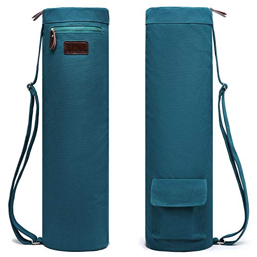 Boence Yoga Mat Bag, Full Zip Exercise Yoga Mat Sling Bag with Sturdy Canvas, Smooth Zippers, Adjustable Strap, Large Functional Storage Pockets - Fits Most Size Mats (Dark green)