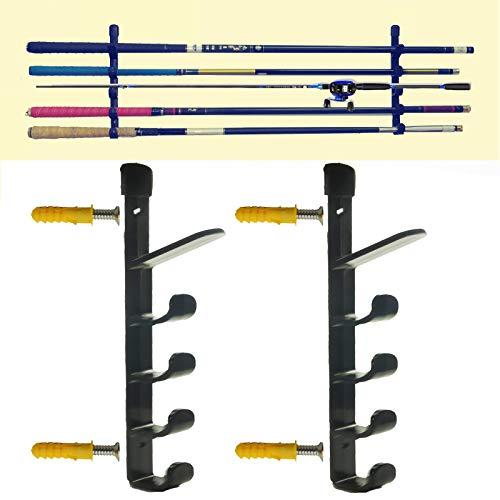 - 1Pair Marketing Holders Rack-It-Up Wall Mount Fishing Rod Holder Horizontal 5-Rod Black Fishing Rod Storage Rack/ Garage Organizer Storage (fishing rod not included)