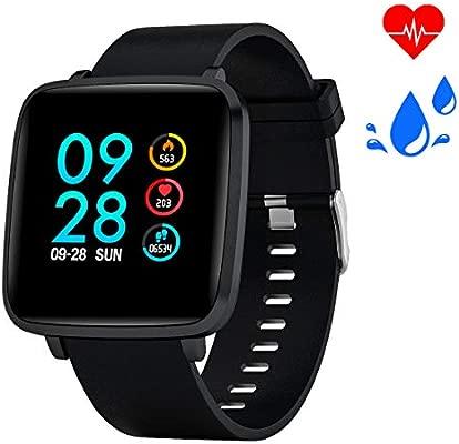 Smartwatch Reloj Inteligente con oxígeno y Monitor de frecuencia cardíaca IP68 Podómetro Medidor de Calor Reloj Deportivo para Hombres Mujeres, ...