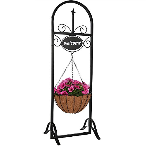 Cheap  Sunnydaze Outdoor Decorative Welcome Sign with Hanging Basket Planter Stand, 48 inch..