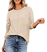 Kisscynest Women's Long Sleeve Crew Neck Solid T Shirts Casual Stitched Tunic Tops Pullover