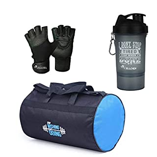 41uYmQjpz7L. SS320 VELLORA Polyester Long Lasting Material, Duffel Bag, Gym Bag with Sport Sipper Water Bottle and Gloves (Blue Black)