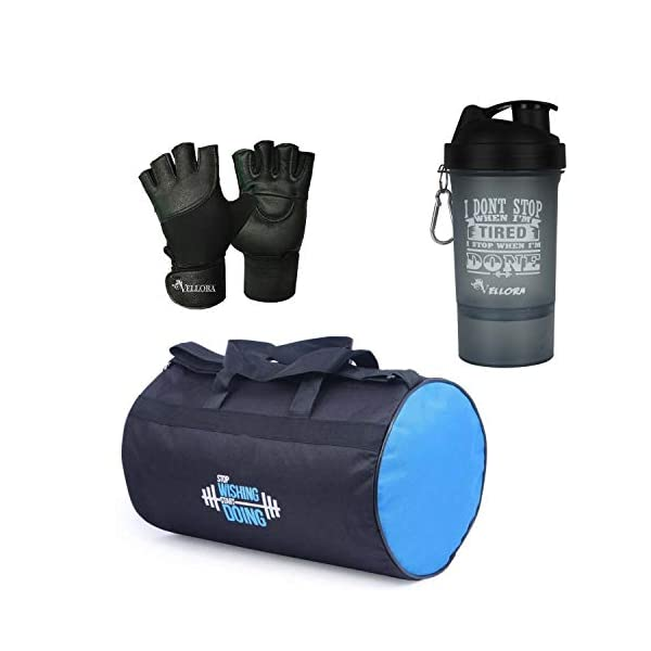 41uYmQjpz7L VELLORA Polyester Long Lasting Material, Duffel Bag, Gym Bag with Sport Sipper Water Bottle and Gloves (Blue Black)