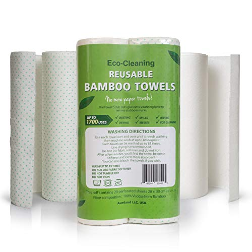 (Bamboo Reusable Paper Towels | Bamboo Unpaper Towels | Machine Washable Paper Towel Roll-40 Sheets (2 Rolls) Each Roll Replaces 6 Month of Regular Paper Towels)