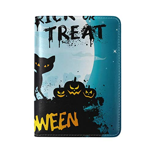 Full Moon Night Halloween Cat Pumpkin One Pocket Leather Passport Holder Cover Case Protector for Men Women Travel