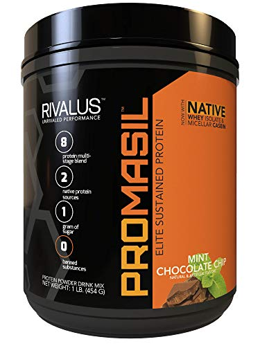 Rivalus Promasil Protein, Mint Chocolate Chip, 1lb - 8-Source Protein Blend Including Native Whey Isolate, Native Micellar Casein, Egg, Sustained Delivery, Clean Nutrition Profile, No Banned Substan