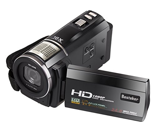 1080P Camcorder, Besteker Protable HD COMS Max 24,0-Megapixel-Digital-Videokamera DV 3,0 Zoll TFT-LCD-Touchscreen-Fernbedienung externe Batterie Camcorder mit micro Recording