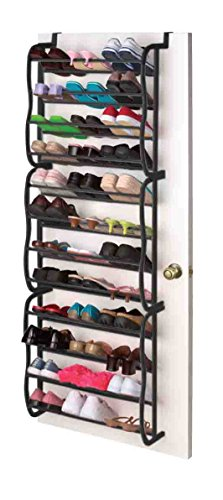 Sunbeam 36 Pair Easy Assemble Over the Door Shoe Rack in Black