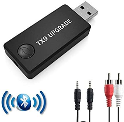 TX9 Transmisor Bluetooth para TV, PC (soporta 3.5mm, RCA, USB Audio de PC) Conexión Dual Adaptador Inalámbrico de Audio para Auriculares, Baja Latencia, Alta Fidelidad Estéreo, Plug and Play