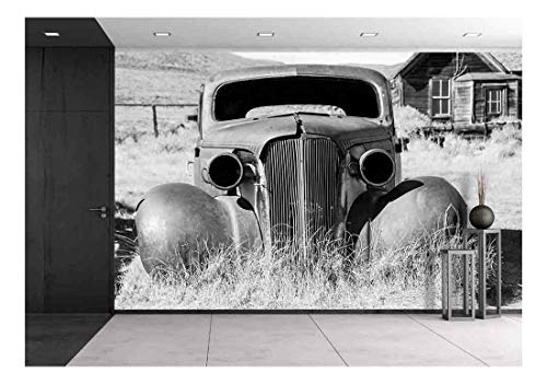 wall26 - Old Abandoned Car in Black and White Has Seen Better Days - Removable Wall Mural | Self-Adhesive Large Wallpaper - 100x144 inches
