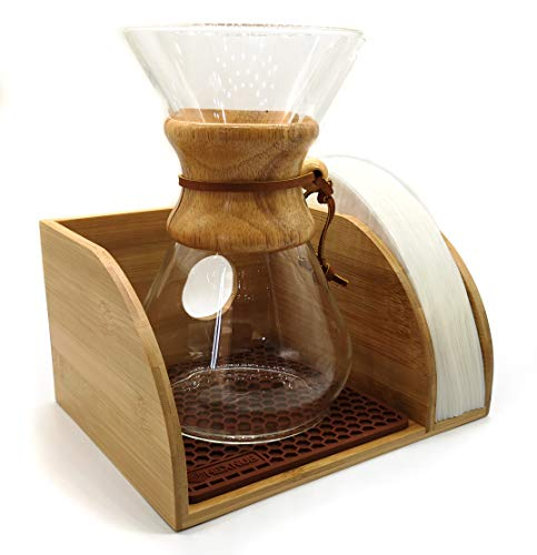 Hexnub Coffee Organizer Stand for Chemex, Bodum and Coffee Gator filtered Coffee Makers Premium Bamboo Caddy Station Holds Pour over Coffee Maker and Filters with Brown Dripper Mat