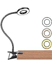 Led-klemlamp, dimbaar, leeslamp, klemmen, oogbescherming, bedlamp met 3 lichtmodi en 10 helderheidsniveaus, USB-voeding, draagbaar, flexibel, zwanenhals, leeslamp voor slaapkamer, kantoor, 7 W, zwart