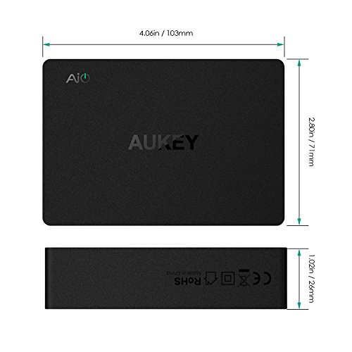 AUKEY Amp USB Wall Charger 60W with AiPower, Quick Charge 3.0 and Dual USB C & 4 USB Ports for Samsung Galaxy Note 8 / S8 / S8+, Google Nexus 6 and More