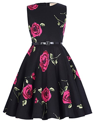 Sleeveless Vintage Floral Dresses for Girls 7-8Yrs K250-5