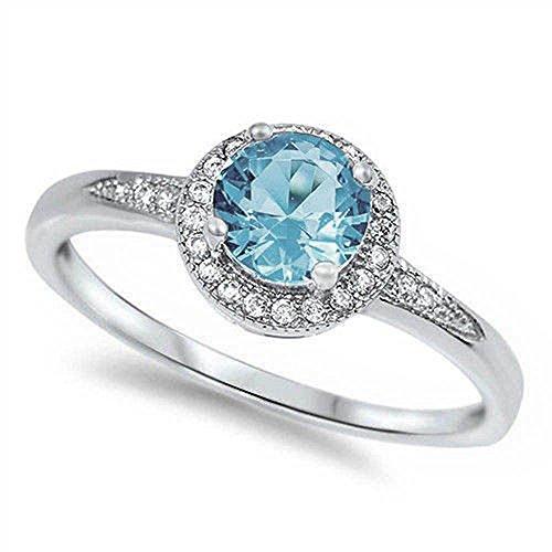 Oxford Diamond Co Halo Style Simulated Aquamarine & Cz Promise Engagement Ring .925 Sterling Size 7 ()
