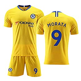 HS-FWJ.HW Alvaro Morata NO.9 Chelsea Football Club Domicile Vêtements de Football Costume Homme Adulte Enfants Set Sports Polyester Fibre,Jaune,2XL(195~200cm)