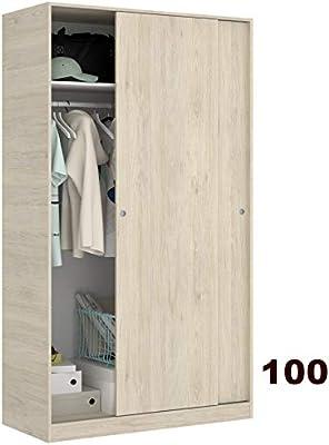 HABITMOBEL Armario Puertas correderas Estrella 100 cm de Ancho Alto 204cm Color Natural: Amazon.es: Hogar