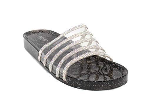066c0437dba6 H2K Women s Crystal with Rhinestone Bling Glitter Open Toe Slide Sandal Flat  Jelly Shoes Sunny (