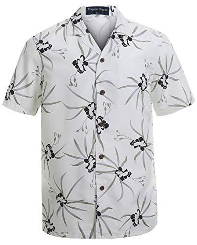 (Hawaiian Shirts for Men Short Sleeve Regular Fit Mens Floral Shirts (YH1909,S) White)