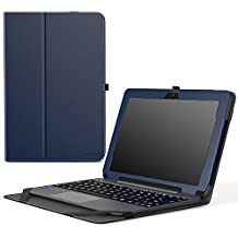"MoKo ASUS Transformer Book T101HA Case, Slim Folding Stand Cover Case with Built-in Hand Strap and Keyboard Portfolio Feature for 10.1"" ASUS Transformer Book T101HA Tablet 2016 Release, Indigo"