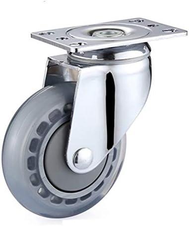 工業用キャスターホイール ベアリング高弾性PUホイールミュートプレート静かな耐衝撃性病院アクセサリーと3/4/5インチの透明キャスター/ホイール (Size : 5 inch)