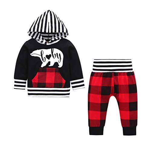 Newborn Infant Kids Baby Boys Stripe Hooded T-Shirt + Plaid Pants Outfits Sweatsuit Clothes Set