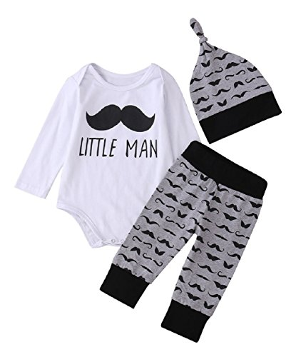 Mefarla Newborn Baby Girl Boy Tops Romper Long Pants Legging Hat Outfit Set Clothes (6-9 Months)