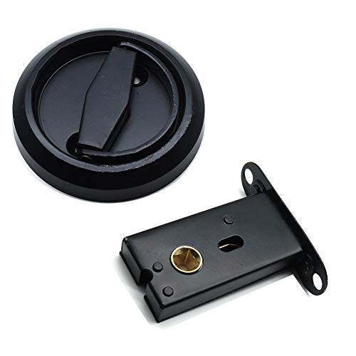 Autoly Recessed Door Handle No Key Thin latch with Bevel Edge in Black