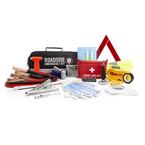 Roadside Assistance Emergency Car Kit - First Aid Kit, Jumper Cables, Tow Strap, LED Flash Light, Rain Coat, Tire Pressure Gauge, Safety Vest & More Ideal Winter Accessory for Your Car, Truck Or SUV