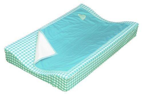 Taftan Hearts Checks Changing Pad Cover Set 72 x 44cm (Turquoise) by Taftan