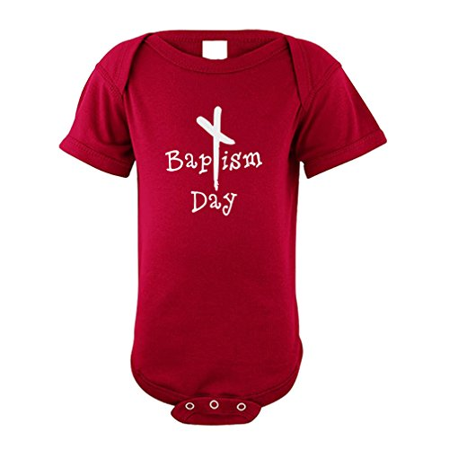 Black Cross Baptism Day Christian Baby Cotton Envelope Neck Unisex Baby Bodysuit One Piece - Garnet, 18 Months ()