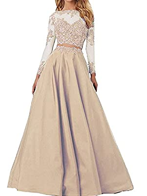 Sound of blossoming Sheer Lace Long Sleeve Prom Dress Two Pieces Homecoming Dress Formal Party Ball Gown030
