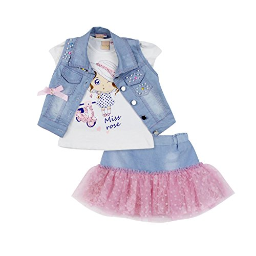 Domeiland summer children clothing sets for 3 pcs girl outfits Denim short vest jackets cotton kids cartoon tops skirt clothes (6T, (Fantastic 4 Spandex Costume)